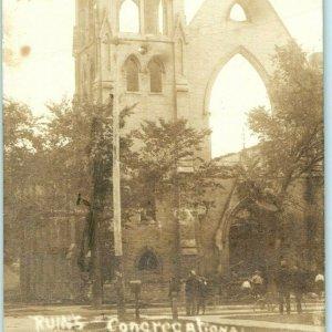 1908 Fond du Lac, WI City Fire Congregational Church Ruins Real Photo RPPC A6