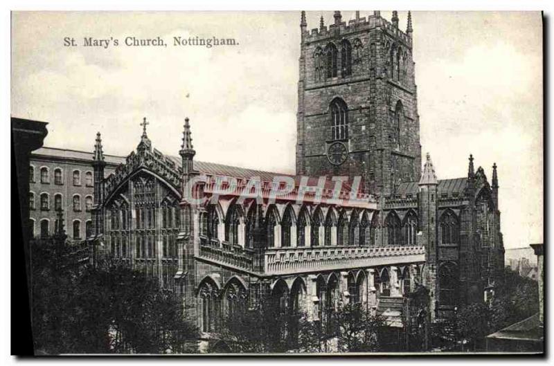Postcard Old St. Mary's Church Nottingham & # 39s