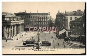 Old Postcard Tramway Bordeaux place de la Comedie in the center and right Ste...