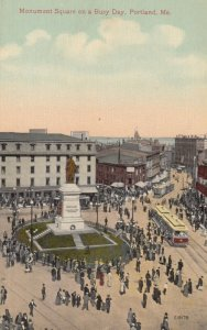 PORTLAND , Maine , 00-10s ; Monument Square on a Busy Day