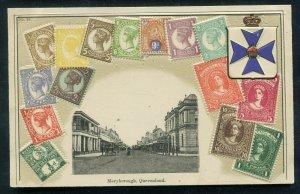 Stamp Postcard Maryborough Queensland unused street view scene