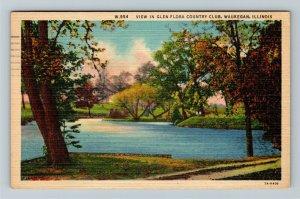Waukegan IL-Illinois, View in Glen Flora Country Club, Linen c1957 Postcard