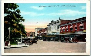 Lakeland, Florida Postcard Northern Kentucky Ave. Downtown Street Scene Kropp