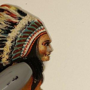 c.1890s Samoset Chocolates Tribal Birchbark Canoe Die Cut Trade Card Antique