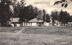 Barbeau Michigan Munuscong Cottages Street View Antique Postcard K85406