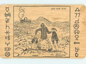 Pre-Chrome comic signed OLD WEST COWBOY SEES CAR IN THE DISTANCE HJ2064