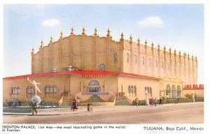 Mexico Old Vintage Antique Post Card Fronton Palace Tijuana Unused