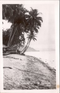 RPPC-Paupa, New Guinea A Beach in New Guinea WWII No. 2 Grogan Photo