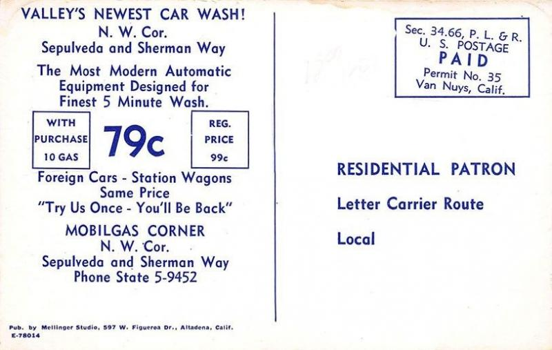 Los Angeles CA Car Wash 76 Mobil Gas Station Postcard