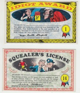 P2199 2 vintage postcard idiot and squealers award and license unused