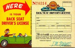 Humour Back Seat Driver's License No 0314