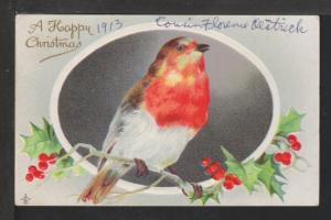 Happy Christmas,Bird,Holly Postcard