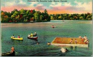 Macon, Georgia Postcard Canoeing on Beautiful Lake Swimming Dock Scene Linen