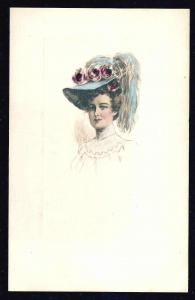 Pretty Lady in a Fancy Hat Flowers used c1910
