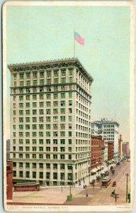 Kansas City, Missouri Postcard Grand Avenue FRED HARVEY #13971 Unused c1910s