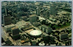 Postcard Nashville TN c1970s Arial View of Downtown Municipal Auditorium