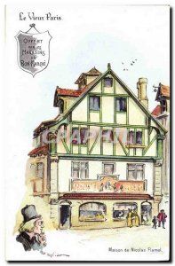 Old Postcard Fantasy Illustrator Old Paris House of Nicolas Flamel