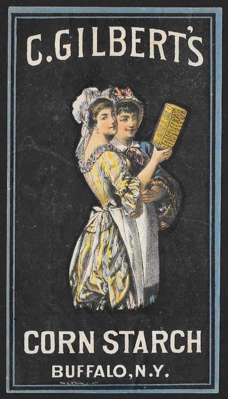 VICTORIAN TRADE CARD Gilberts Corn Starch 2 Pretty Ladies
