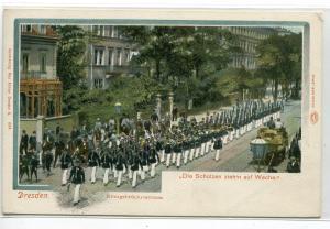 Military Parade Schutzen Konigsbruckerstrasse Dresden Germany 1905c postcard