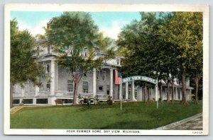 Bay View Michigan~Bay View Inn-Your Summer House~Folk Sit on Lawn~1928
