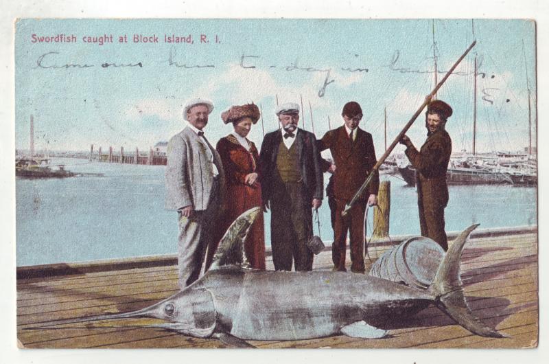 P812 1907 fishing a harpoon and big swordfish caught at block island R.I.