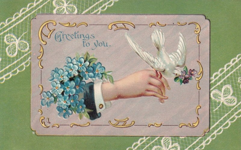 GREETINGS, Hand with perched dove, Forget-Me-Not Flowers, 1900-10s