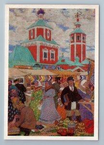 ON FAIR Russian Types Merchant Ethnic Folk by KUSTODIEV Art Vintage Postcard