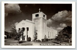 Miami Florida~St Peter & Paul Church~Dark Sky & Clouds~1940s RPPC