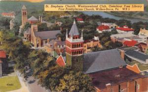 WILKES BARRE PA ST STEPHENS CHURCH~WESTMORELAND CLUB~OSTERHOURT~AERIAL POSTCARD