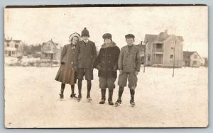 RPPC My Girlfriend & I Went Ice Skating in Neighborhood~Bros Tagged Along c1910