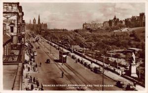Princes Street, Edinburgh and Gardens, Scotland, Early Real Photo Postcard, Used