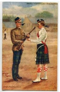 Drill Instruction Argyll Sutherland Highlanders British Army Tuck 1910c postcard