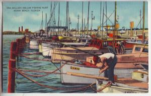 P9011 old linen card many sportfishing boats million dollar pier miami beach fl