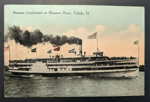 Mint Vintage Steamer Greyhound on Maumee River Toledo Ohio Real Picture Postcard