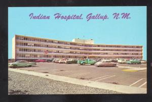 GALLUP NEW MEXICO INDIAN HOSPITAL 1950's CARS VINTAGE POSTCARD NM