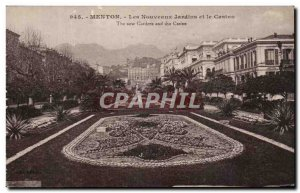 Old Postcard Menton The New Gardens and the Casino