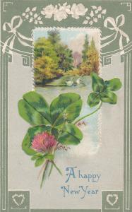 A Happy New Year, Spring Scene, Swans, Shamrocks, pink flower, white roses, w...