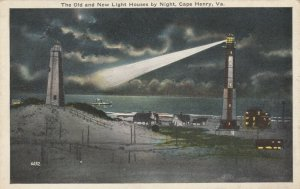 CAPE HENRY,  Virginia, 1910s; The Old and New Ligh Houses by Night