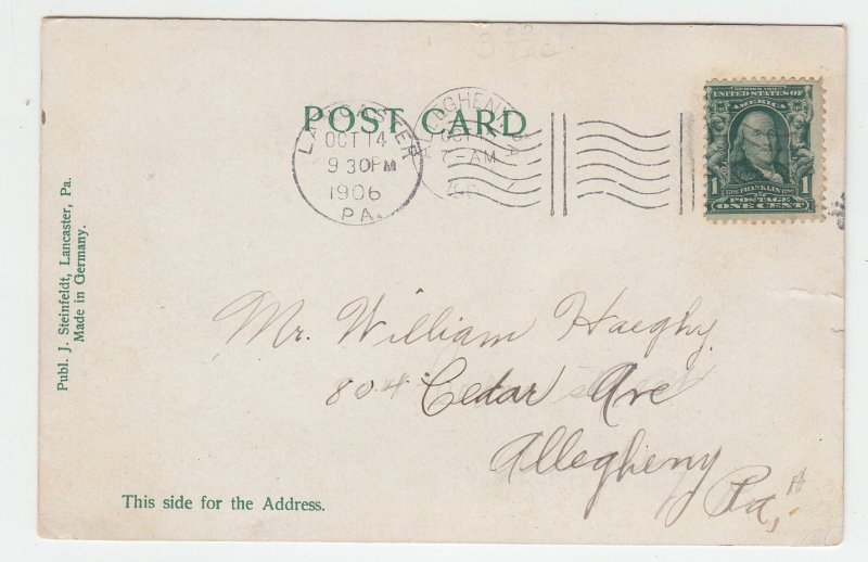 P1982, 1906 postcard  RR train station people etc lancaster pa.see details