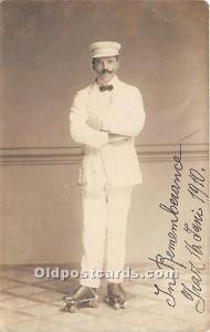 Old Vintage Rollae Skating Postcard Post Card Man Roller Skater in 1910 Writi...
