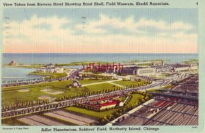 VIEW TAKEN FROM STEVENS HOTEL showing Shedd Aquarium, Soldiers Field, etc 1945