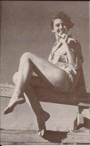 Arcade Card,Sexy Woman, ca. 1930-40's Girl w Shirt, Brunette Short Hair, Legs