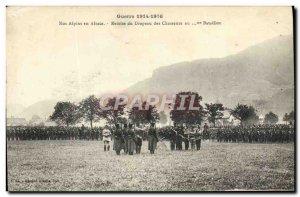 Old Postcard Militaria Alpine Our Alsace Hunters flag Discount Alpine