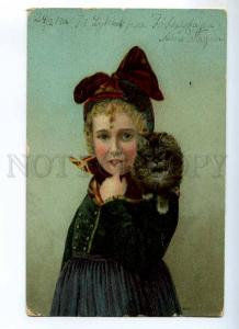 234964 Charming Girl w. PUSSY CAT Kitten Vintage postcard