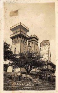 RPPC IRISH HILLS Cambridge Township, Lenawee County, MI Gray Tower Postcard 1928