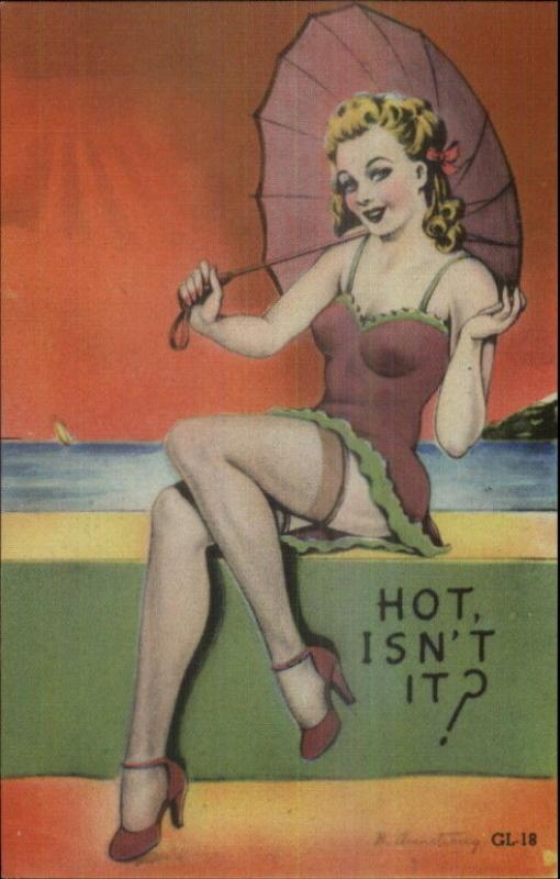 Sexy Bathing Beauty Linen Pinup Umbrella Hi-Heels Linen Postcard EXC COND