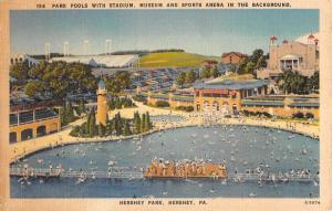 Hershey Pennsylvania Park Pool Stadium Birdseye View Antique Postcard K64523