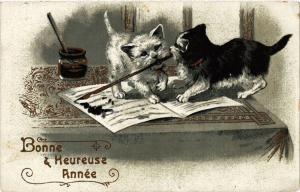 CPA AK CATS Bonne & Heureuse Année (a2026)