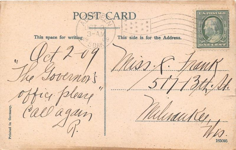 Wahpeton North Dakota~Fifth Street~Unpaved Road-Park on Right~1909 Postcard