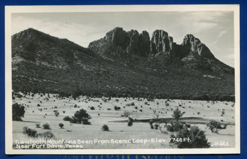 Fort Davis Texas tx Scenic View Sawtooth Mountains Mtns Real Photo Postcard RPPC